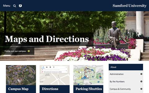 Screenshot of Maps & Directions Page samford.edu - Maps and Directions for Samford University - captured Sept. 12, 2018