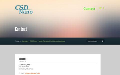Screenshot of Contact Page csdnano.com - Contact - CSD Nano - More Sun Anti-Reflective Coatings - captured Oct. 1, 2014