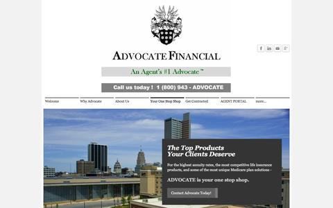 Screenshot of Products Page myadvocatefinancial.com - Your One Stop Shop - Advocate Financial, LLC - captured Sept. 28, 2016