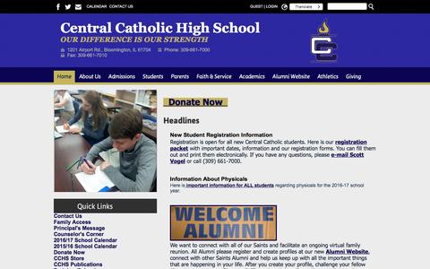 Screenshot of Home Page blmcchs.org - Home - Central Catholic High School - captured June 4, 2016