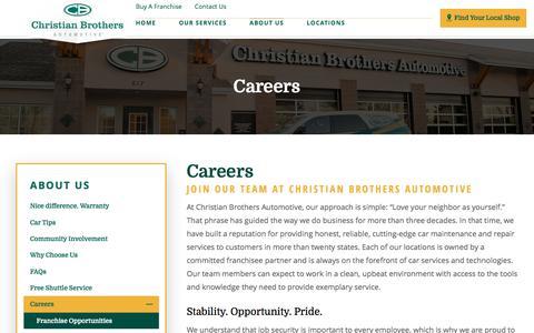 Screenshot of Jobs Page cbac.com - Careers | Christian Brothers Automotive - captured April 28, 2017