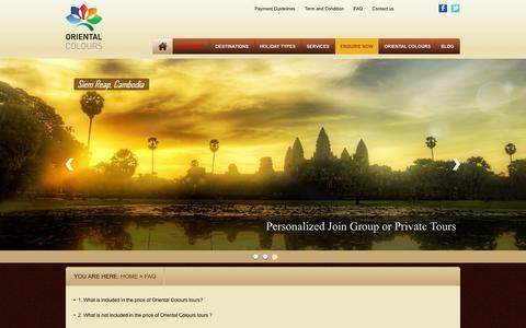 Screenshot of FAQ Page orientalcolours.com - FAQ - ORIENTAL COLOURS Homestays and Tours to Vietnam, Laos and Cambodia - captured Oct. 7, 2014