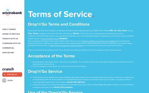 Screenshot of Terms Page envirobank.com.au - Terms of Service - Envirobank Recycling - captured Dec. 15, 2018