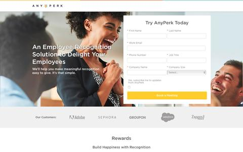 Screenshot of Landing Page anyperk.com - Anyperk | Request a Demo - captured Jan. 30, 2017