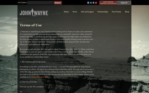 Screenshot of Terms Page johnwayne.com - Terms of Use | John Wayne - captured Oct. 6, 2014