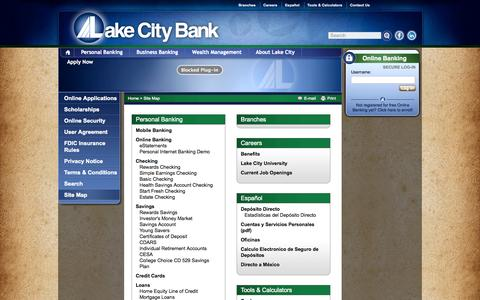 Screenshot of Site Map Page lakecitybank.com - Site Map | Lake City Bank - Personalized Community Banking - captured Oct. 30, 2014