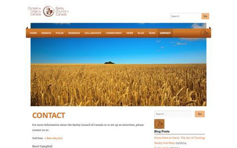 Screenshot of Contact Page barleycouncil.com - Contact | - captured Nov. 3, 2014