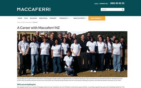 Screenshot of Jobs Page maccaferri.co.nz - Careers - captured Nov. 2, 2014