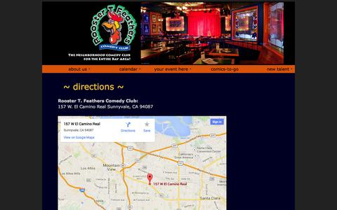 Screenshot of Maps & Directions Page roostertfeathers.com - Rooster T. Feathers - Directions - captured Oct. 26, 2014