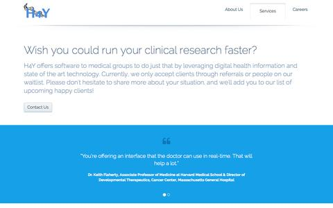 Screenshot of Services Page h4ycorp.com - H4Y Advancing Medicine - captured Sept. 26, 2014