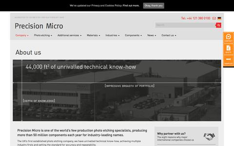 Screenshot of About Page precisionmicro.com - Precision Micro - Production Photo Etching Supplier - captured July 21, 2018