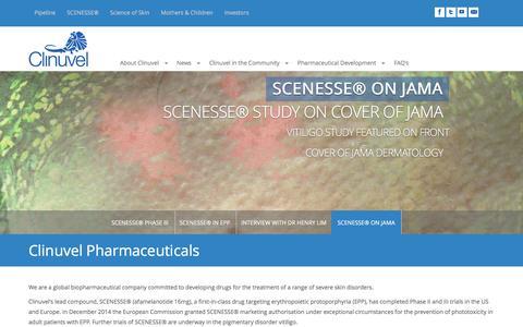 Screenshot of Home Page clinuvel.com - Welcome to Clinuvel - Clinuvel Pharmaceuticals - captured Nov. 29, 2016