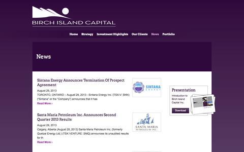 Screenshot of Press Page birchislandcapital.com - News - captured Oct. 5, 2014