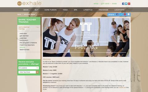 Screenshot of Pricing Page exhalespa.com - Mind Body Classes | exhale mind body spa - captured Dec. 13, 2015