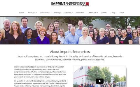 Screenshot of About Page imprint-e.com - Company - Imprint Enterprises - captured Feb. 11, 2018