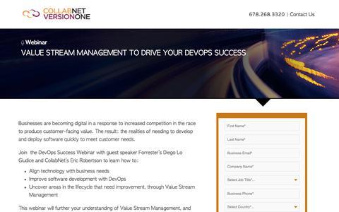 Screenshot of Landing Page versionone.com - Value Stream Management to Drive DevOps Success - captured March 3, 2018