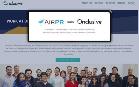 Screenshot of Jobs Page onclusive.com - Jobs - Onclusive - captured April 9, 2019