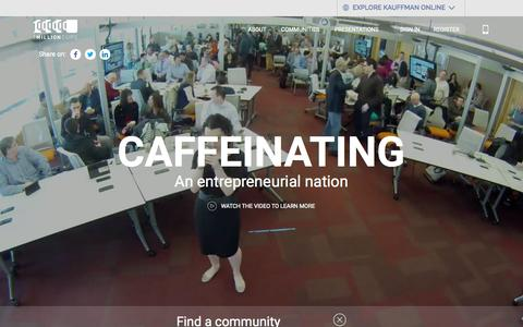 Screenshot of Home Page 1millioncups.com - Home | Caffeinating an entrepreneurial nation | 1MillionCups.com - captured Sept. 12, 2015