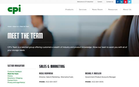 Screenshot of Team Page cp-industries.com - CP Industries : Meet the Team - captured Sept. 25, 2018
