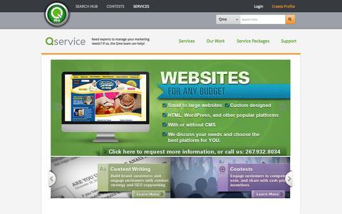 Screenshot of Services Page myqme.com - MyQME | Build brands and reward users at one social media hub via myQme - captured Nov. 1, 2014
