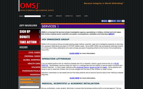 Screenshot of Services Page omsj.org captured Oct. 27, 2014