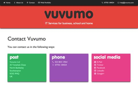 Screenshot of Contact Page vuvumo.com - Vuvumo Ltd - Contact Details - captured Aug. 4, 2015