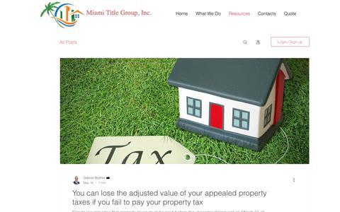 Screenshot of Blog miamititlegroup.com - Title Insurance Miami | Miami Title Group | Resources - captured Oct. 18, 2018