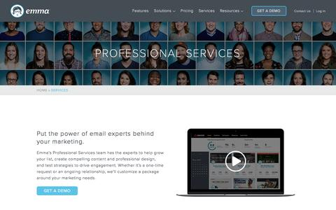 Screenshot of Services Page myemma.com - Professional Services   Emma Email Marketing - captured March 30, 2018