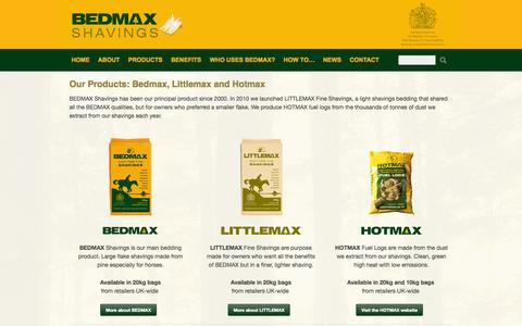 Screenshot of Products Page bedmaxshavings.com - Bedmax Products - Bedmax - captured Oct. 4, 2014