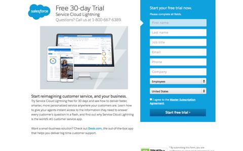Screenshot of Trial Page salesforce.com - Free Trial - Service Cloud 30-Day - Salesforce.com - captured March 9, 2017