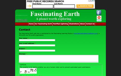 Screenshot of Contact Page fascinatingearth.com - Contact | Our Fascinating Earth - captured May 14, 2016