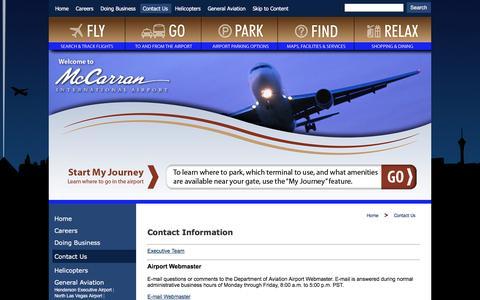 Screenshot of Contact Page mccarran.com - McCarran International Airport > Home > Contact Us - captured Jan. 24, 2016