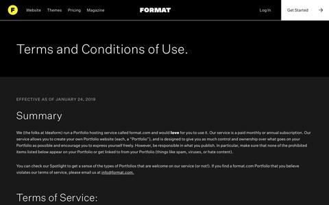 Screenshot of Terms Page format.com - Terms of Service   Format - captured Jan. 9, 2020