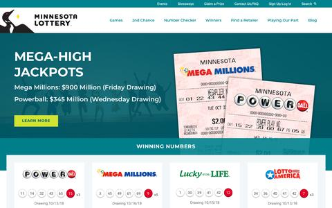 Screenshot of Home Page mnlottery.com - Home MN Lottery -             Minnesota State Lottery - captured Oct. 18, 2018