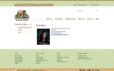 Screenshot of Press Page onceagainnutbutter.com - Press Room   Once Again Nut Butter - captured Oct. 7, 2014