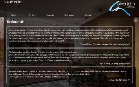 Screenshot of Testimonials Page oliverjohn.net - Testimonials | Oliver John - captured Oct. 7, 2014