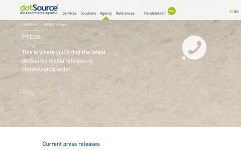 Screenshot of Press Page dotsource.com - Press | dotSource – the ecommerce agency - captured Sept. 22, 2014