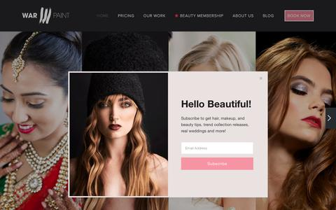 Screenshot of Home Page warpaintinternational.com - Warpaint International Beauty Agency - captured Oct. 5, 2017
