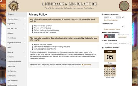 Screenshot of Privacy Page nebraskalegislature.gov - Nebraska Legislature - Privacy Policy - captured Oct. 6, 2018