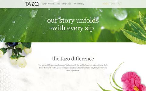 Screenshot of About Page tazo.com - Tazo® Tea | Our Story - captured Sept. 19, 2014