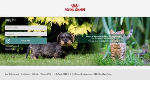 Screenshot of Login Page royalcanin.no - Innlogging for kunde  | Royal Canin - captured Nov. 7, 2017