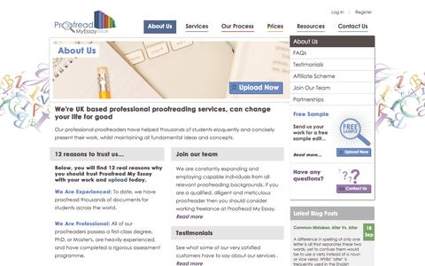 Screenshot of About Page proofreadmyessay.co.uk - 12 reasons to use Proofread My Essay's great proofreading services - captured Sept. 23, 2014