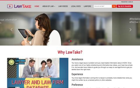 Screenshot of Home Page lawtake.com - Home page - captured July 20, 2015