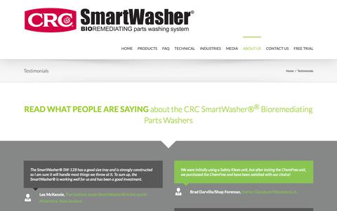 Screenshot of Testimonials Page chemfree.com - Eco-Friendly Parts Washer Testimonials   ChemFree CRC SmartWasher® - captured Nov. 10, 2018