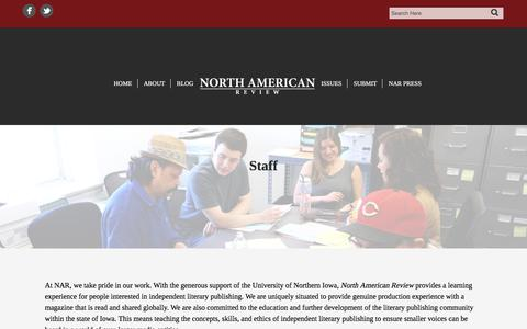 Screenshot of Team Page northamericanreview.org - Staff | North American Review - captured Nov. 14, 2017