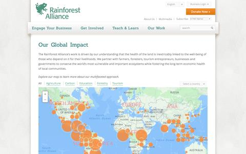 Screenshot of Maps & Directions Page rainforest-alliance.org - Our Global Impact | Rainforest Alliance - captured Nov. 23, 2015