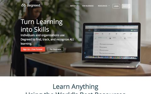 Screenshot of Home Page degreed.com - Get Credit For Lifelong Learning - College, MOOCs & More | Degreed - captured Sept. 15, 2014