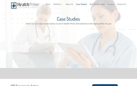 Screenshot of Case Studies Page hpiinc.com - Case Studies - Health Prime International Practice Management Solutions - captured Sept. 27, 2018