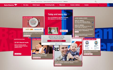 Screenshot of About Page bankofamerica.com - About Bank of America - Service, Commitment & Philanthropy - captured Oct. 21, 2015
