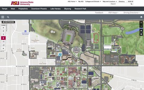 Screenshot of Maps & Directions Page asu.edu - ASU Interactive Map - captured Aug. 1, 2019